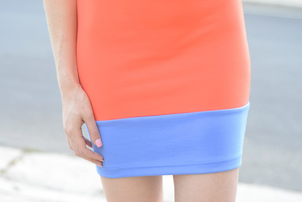 Color Block Ponte Tank Mini Dress watermelon/cornflower