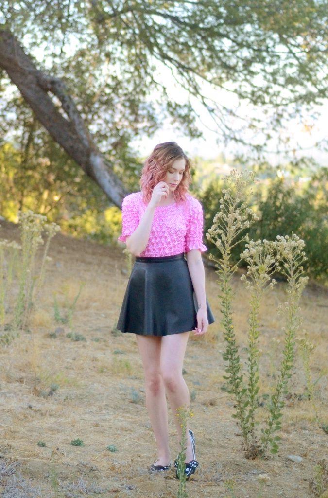 irregular choice woofy flats, American apparel black leather a line mini skirt