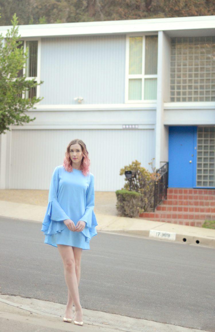 VIPme light blue bell sleeve dress, christian louboutin custom gold simple pump 85