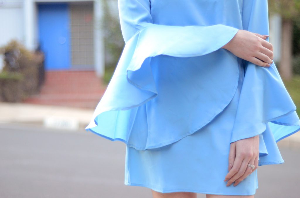 VIPme light blue bell sleeve dress