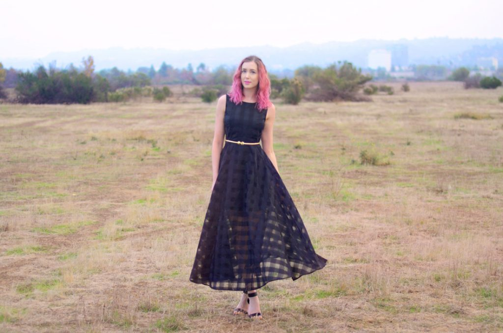 What I Wish I Could Tell Myself in High School with Los Angeles Cruelty-Free Beauty Blogger, Emily Wolf Beauty. rosegal Stylish Sleeveless Plaid Organza Layered Maxi Dress For Women, Vince camuto black leather ankle strap heeled sandals