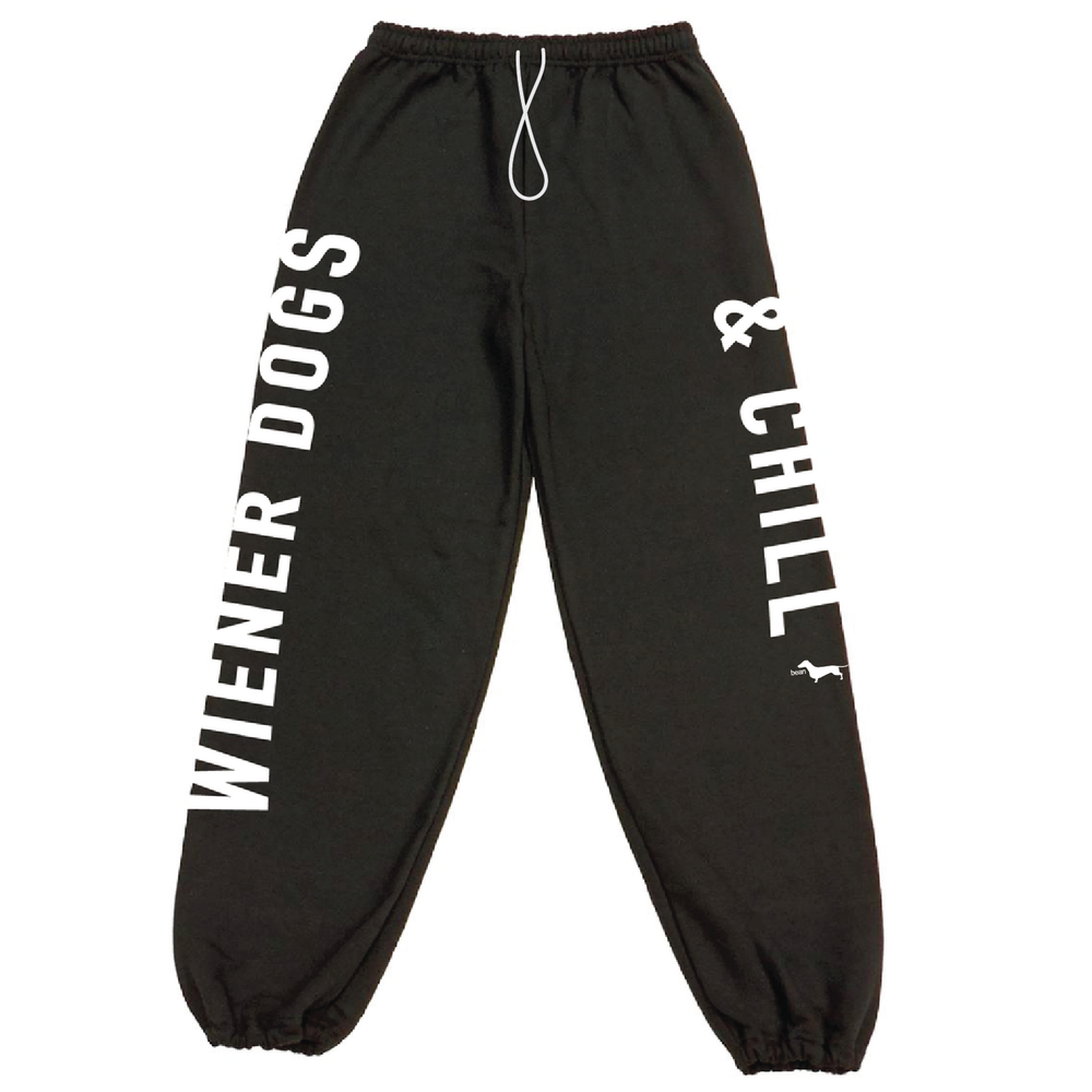 beangoods wiener dogs & chill black sweatpants
