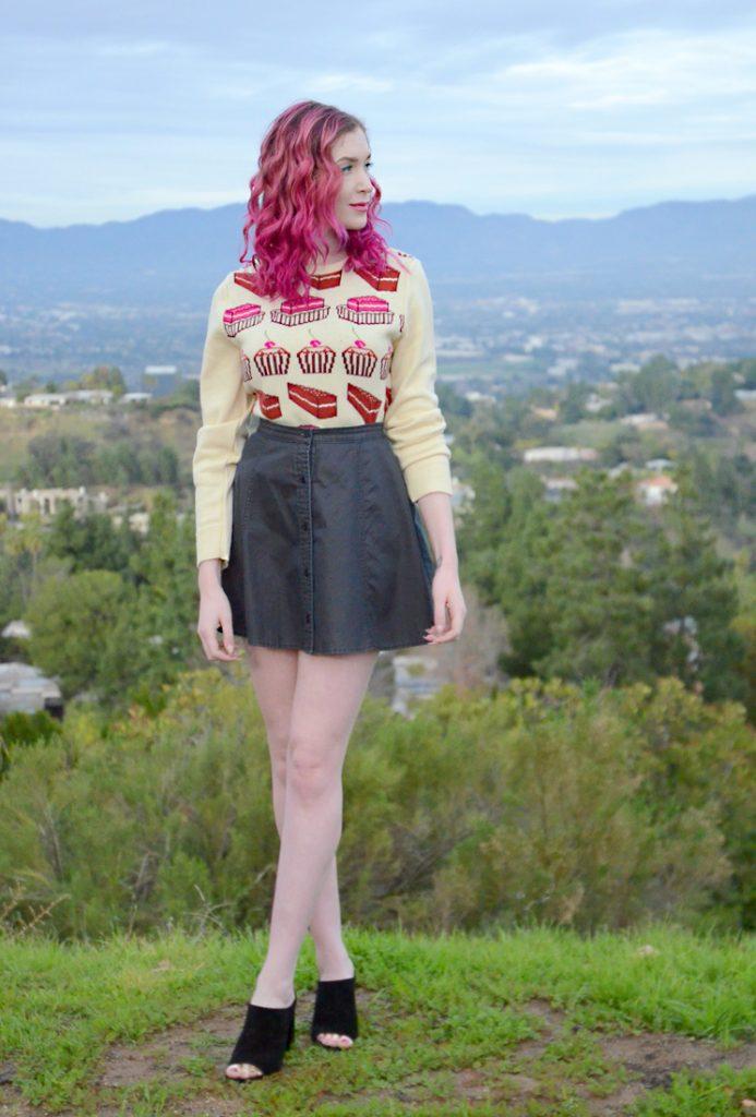 lipsense rose ice, Bella Dahl denim skirt, cupcake sweater, steve madden black suede peep toe mules