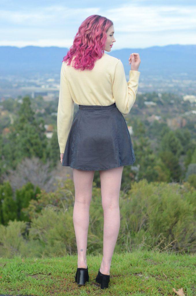 Bella Dahl denim skirt, cupcake sweater, steve madden black suede peep toe mules