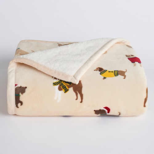 kohl's dog print throw blanket