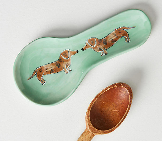 anthropologie painted dachshund spoon rest